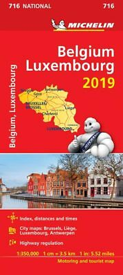 Belgium & Luxembourg 2018 National Map 716 by Michelin - Folded Sheet Road Map