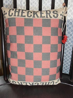 ACCenT SheLF SiTTer ChecKerBoarD W/ Buttons GaMe ROOM CouNTrY DecoR MADE IN USA