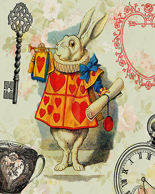White Rabbit Alice In Wonderland - Vintage Art Print Poster - A1 A2 A3 A4 A5