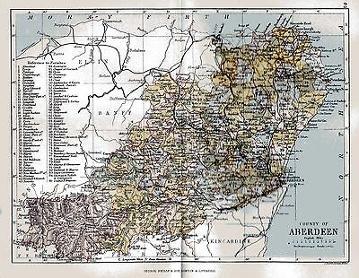 An  antique map of the County of Aberdeen, Scotland,dated 1884.