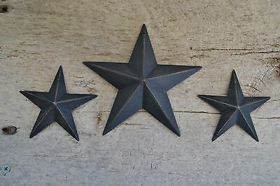"Set of 3 ~ 5.5"" / 3.5"" BLACK BARN STAR Metal Tin Primitive Country 5 1/2"" 3 1/2"""