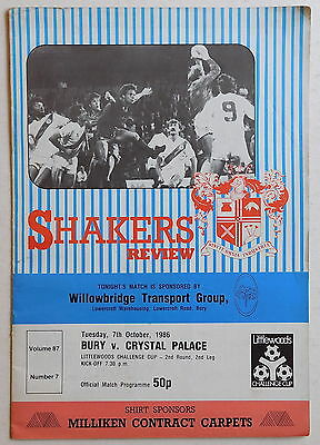 BURY Vs CRYSTAL PALACE Programme - 7 October 1986 - League Cup Second Round