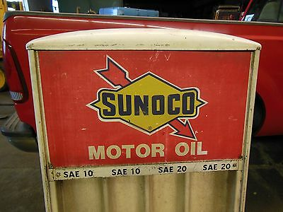Sunoco Service Station Motor Oil Rack Original 1960's Seloil Cabinet with Signs