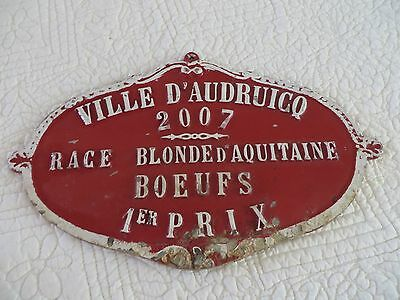 Vintage French Metal Plaque Award Sign Livestock Fair Agriculture Competition