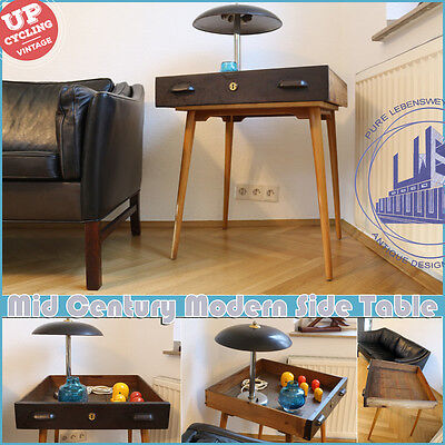 INDUSTRIAL VINTAGE MID CENTURY MODERN SIDE TABLE TISCH 50s 60s - 2017 UPCYCLED