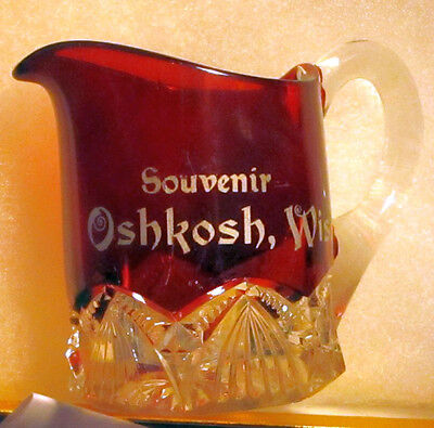 Souvenir Creamer Pitcher EAPG Ruby Stained Oshkosh Wisconsin
