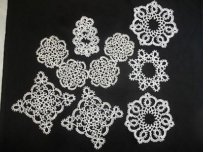 Handmade Tattered Lace Snowflakes/Doilies with Pearls