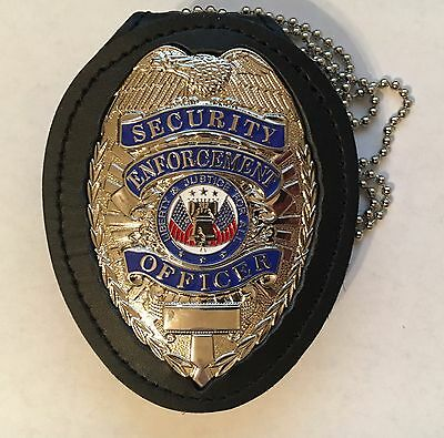 SECURITY ENFORCEMENT OFFICER Silver Badge and Neck/Belt Holder
