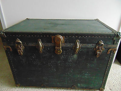 Vtg STORAGE TRUNK train luggage flat top antique steamer with wood & brass OLD