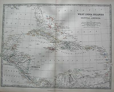 1868 Large Victorian Map : West India Islands And Central America