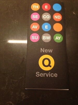 """New!! """"q"""" Train Nyc Second Ave Subway """"grand Opening"""" Commemorative  Map"""