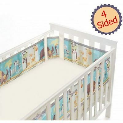 Breathable Baby 4-Sided Mesh Cot Liner - Animal 2 by 2