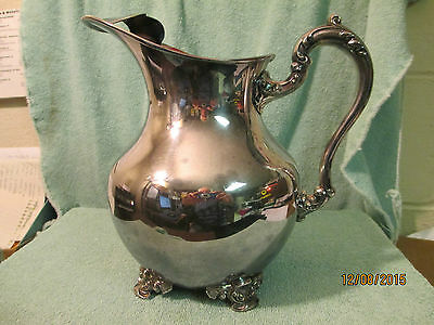 Vintage Ornate Silverplate Water Pitcher Poole Old English Silver Co Epc 5008