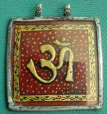 Vintage Om Painting With Golden Leaf Silver Necklace Pendant Rare