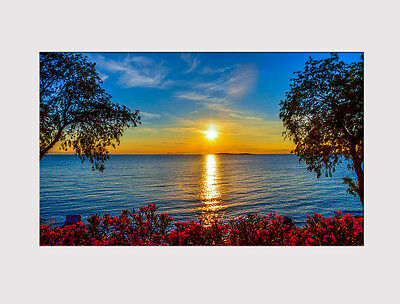 620 X Large Canvas Wall Art Lake Tree Sunset Sunrise Water Sky Print Picture