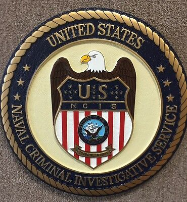"15"" Hand carved Painted NCIS Seal"