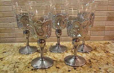 Vintage Silver Plated & Glass Cups Cordial Glasses - Asian Motif Dragons, Pagoda