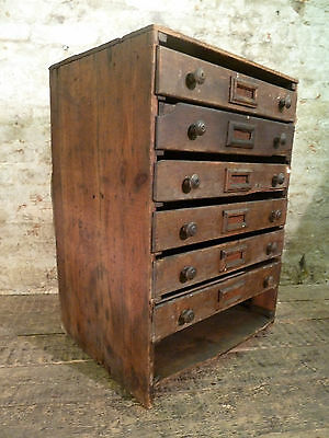 French Pine Bank of Drawers Antique Haberdashery Industrial Vintage Apothecary