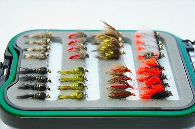64 Elite River bugs boxed flies, fly fishing nymphs grayling trout jig spider
