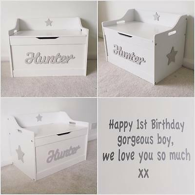 Personalised In Lid Girls/boys Wooden Children Toy Box/Storage Box/chest Nursery