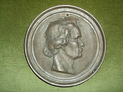 Rare Antique 19 C Large Finely Detailed Cast Iron Circular Wall Plaque Beethoven