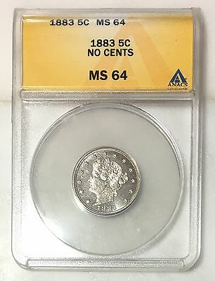 1883 Liberty Nickel No CENTS ANACS MS64 ***Rev Tye's Coin Stache*** #6013