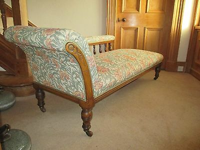 Antique Oak Framed Chaise Longue Sofa/Day Bed Carved Scroll Back Bolster Cushion