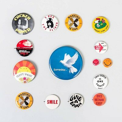 Lot 15 Vintage Hippie Pinbacks Rock & Roll, Politcal, Smiley Face, Peace + More!