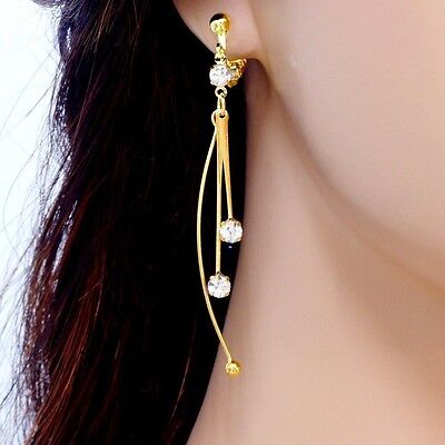 "#E844A PAIR 2.6"" non-piercing CLIP ON screw back EARRINGS Curve Tassel Crystal"