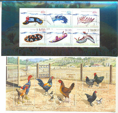 Australia-Poultry + Underwater Life and Poultry2 special min sheets f.used/cto