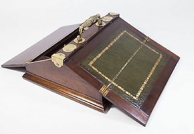 Antique SPECTACULAR Leather Top Brass Wood Writing Lap Desk Slope Document Box