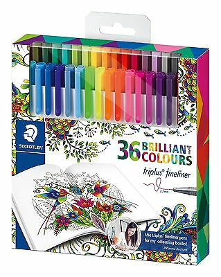 Staedtler Set of 36 Johanna Basford Triplus Fineliner Pens Adult Coloring Books