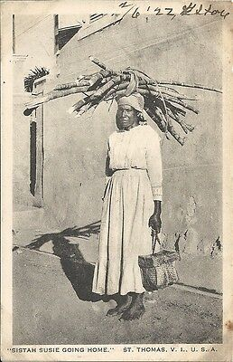 Postcard, Caribbean, St. Thomas, Sistah Susie Going Home, Head load, dated 1922
