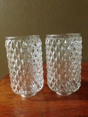 Pair of Vintage Mid Century Diamond Point Clear Glass Light Shades/Globes