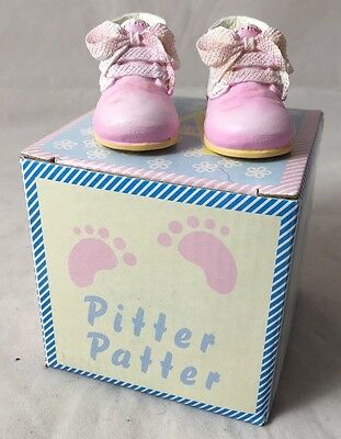 Pitter Patter New Born Baby Girl - Keepsake Pink Shoe Ornaments Gift Box