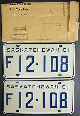 1961 Saskatchewan Farm License Plate Pair F 12-108 - with envelope