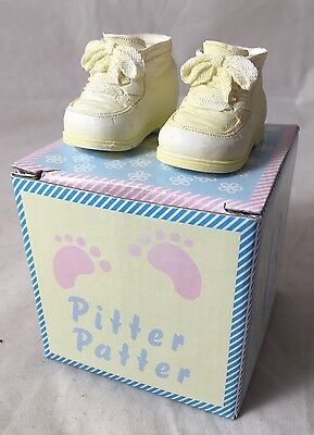 Pitter Patter New Born Baby Boy/Girl - Keepsake Yellow Shoe Ornaments Gift Box