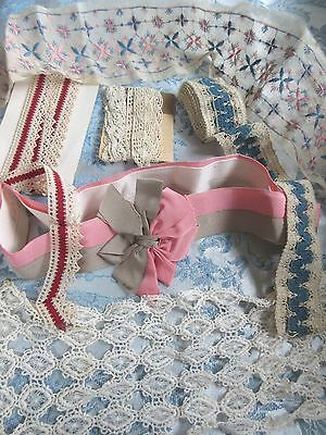 Antique Lace Trim Edging &Silk Ribbon Large Lot French German Doll Dress Hat-H
