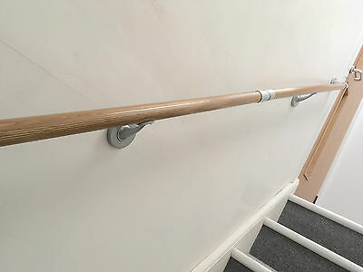 Wall Mounted Wood-Effect Handrail Kit - Staircase Broom Handle Mop Stick Rail