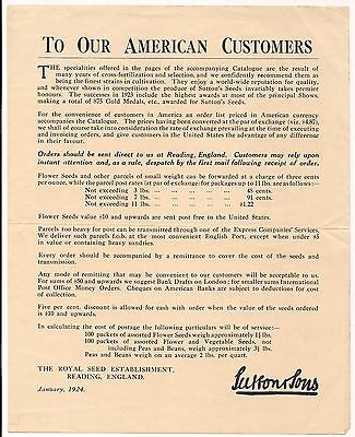 Vintage 1924 Letter To Customers Royal Seed Establishment England Sutton & Sons