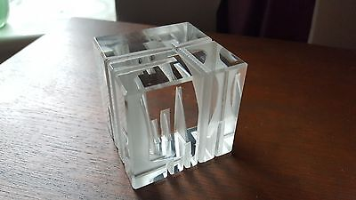 Caithness glass rare Colin Terris signed  cube glass paperweight ?