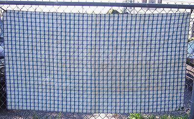 Antique Cotton Fabric Tablecloth Blue White Plaid Checkered 19th Century 1800's