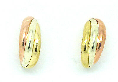 9ct Three Colour Gold Russian Wedding Hoop Studs to Clear