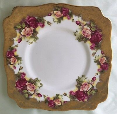 """Royal Chelsea """"GOLDEN ROSE"""" 8.75 inch SQUARE CAKE PLATE"""