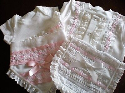 Romany Blinged Baby Layette Set in White/Pink - Sizes NB - 3-6 months