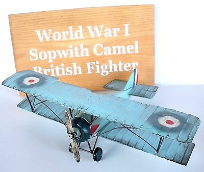 WWI Sopwith Camel British fighter Metal Plane and Wood Sign Plaque Airplane New