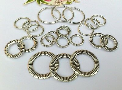 20 x Fab Mix large Ring Link Hammered Connectors,14-30mm *updated