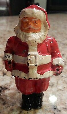 "Vintage Cast Iron Metal Santa Claus Great Original Colors 2.75"" tall Hubley ? T1"