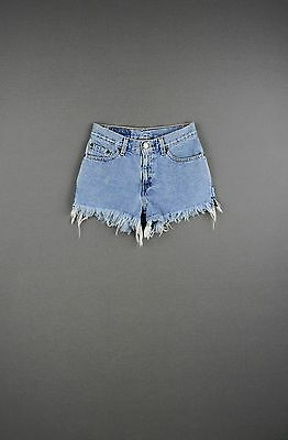 Vintage Levi's 550 High Waist Denim Shorts Light Wash Trashed Grunge Soft Denim