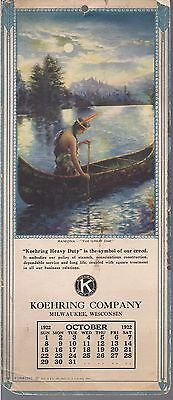 1922 Koehring Company Calendar October Indian Canoe Lake Theme